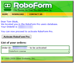 Figure 1: RoboForm Activation