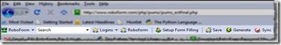 Figure 2: RoboForm Toolbar