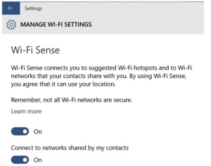 WiFi Sense Selection